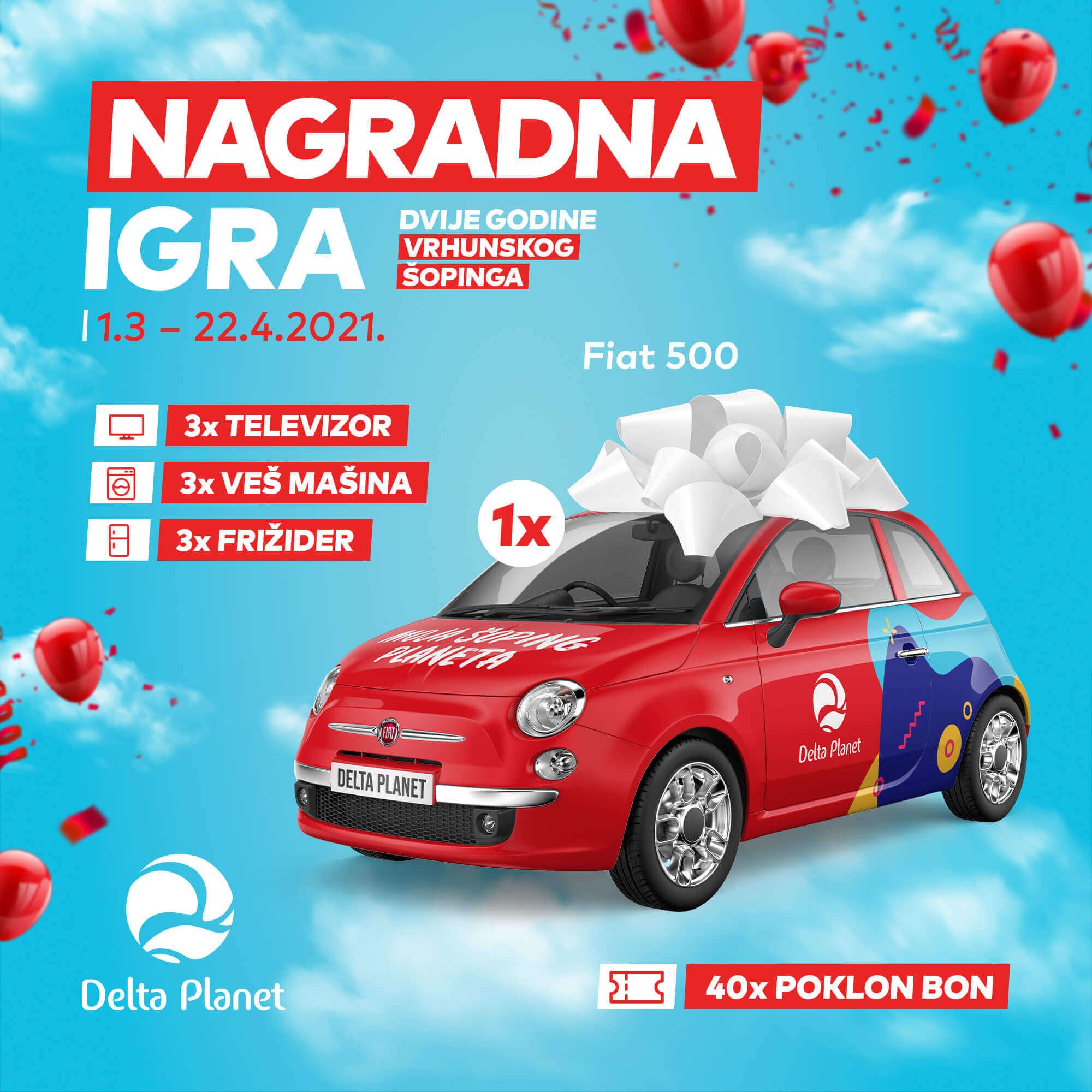 Delta Planet, nagradna igra, FIAT 500, nagrade, pokloni